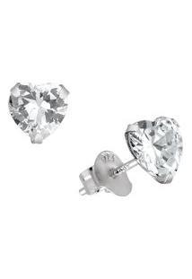 Brinco Zircônia Coração Em Prata 925 - Unissex-Prata