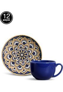 Conjunto 12Pçs Xícaras De Chá Porto Brasil Coup Firenze Azul/Amarelo