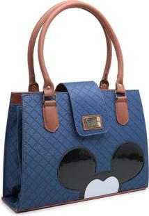 Bolsa Mickey Mouse Compacta Alã§A Dupla Mã£O Azul - Azul - Feminino - Dafiti