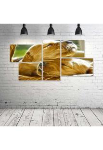 Quadro Decorativo - Dogs-Neon - Composto De 5 Quadros