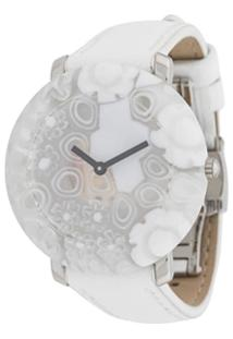 Yunik Relógio 36Mm Redondo Floral - Branco