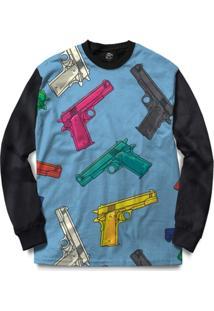 Blusa Bsc Gun Blue Full Print - Masculino