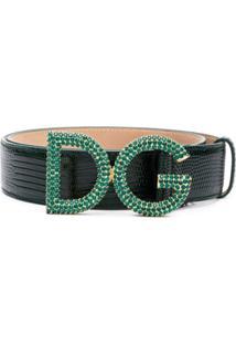 Dolce & Gabbana Cinto De Couro Com Aplicações - Verde