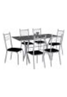 Conjunto De Mesa Miami Com 6 Cadeiras Lisboa Branco Prata E Preto Liso