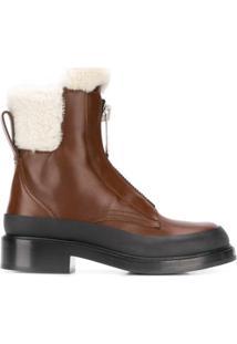 Chloé Ankle Boot Com Acabamento Em Pelos - Marrom