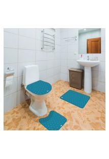 Jogo De Banheiro Abstrato Azul Único