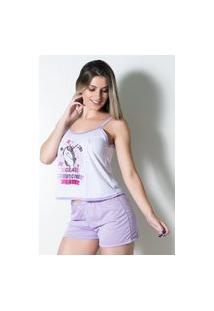 Baby Doll Pijama Curto Feminino Linha Noite Lilás
