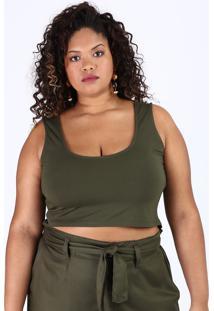 Top Cropped Feminino Plus Size Alça Larga Decote Redondo Verde Militar