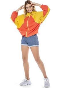 Jaqueta Corta Vento Dialogo Bicolor Feminina - Feminino-Amarelo+Laranja
