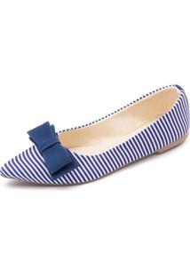 Sapatilha Listrada Com Laã§O Azul Megachic - Azul - Feminino - Dafiti