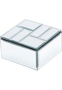 Porta Jóia Madeira Espelhado 10,5X10,5X5,5Cm