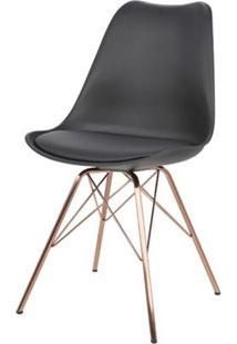 Cadeira Torre Eames Preta Com Almofada Base Cobre - 51050 - Sun House