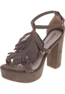 Sandália Dafiti Shoes Meia-Pata Franjas Verde