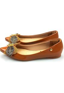 Sapatilha Love Shoes Bico Fino Pedraria E Strass Verniz Caramelo