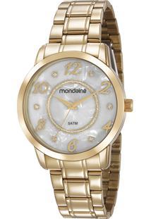 Kit De Relógio Analógico Feminino Mondaine + Pulseira - 83436Lpmvde1Kz Dourado