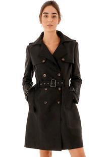 Casaco Trench Coat Liso Com Cinto Removível E Abotoamento Duplo Frontal
