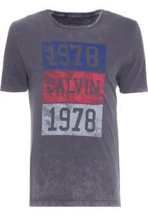 Camiseta Masculina Quadrados 1978 - Azul Marinho