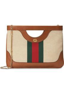 Gucci Large Vintage Canvas Shoulder Bag - Marrom
