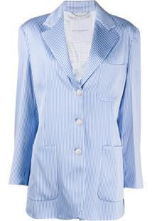 Ermanno Scervino Blazer Oversized Listrado - Azul