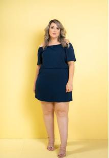 Vestido Ciganinha Myra Azul Marinho Plus Size