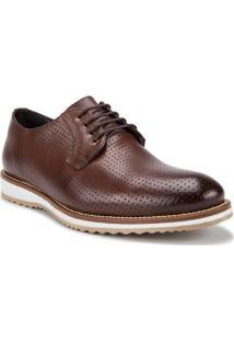 Sapato Masculino Com Pespontos Couro Marrom