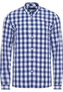 Camisa Masculina Tartan Gingham Mix Shirt - Azul
