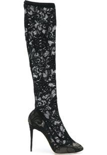 Dolce & Gabbana Bota De Renda - Preto