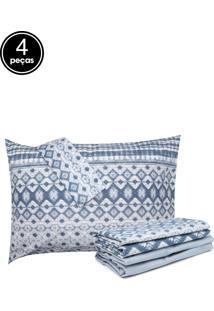 Jogo De Cama 4Pçs Casal Santista Home Design Akemi Azul
