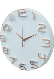 Relógio Parede Plástico/Aluminio Detached Numbers Branco/Cobre 30,5X30,5X4Cm