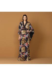 Vestido Kimono Estampado Cinto Dragões - Lez A Lez