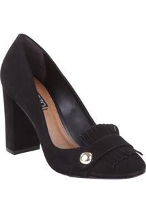 Sapato Tradicional Em Couro Com Recortes- Pretoarezzo & Co.