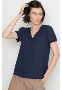 Blusa Com Bordado- Azul Marinho- Milioremiliore