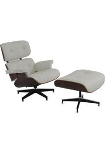 Poltrona Charles Eames Com Puff- Branca & Marrom- 79Rivatti