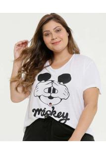 Blusa Disney Plus Size Mickey Manga Curta Feminina - Feminino-Branco