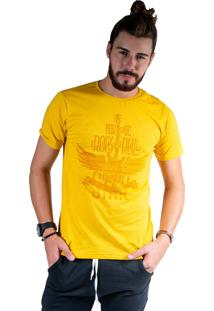 Camiseta Mister Fish Estampado Rock And Roll Mostarda
