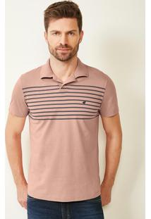 Camisa Rosa Claro Polo Slim Listrada Malwee