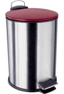 Lixeira Euro Home Aço Inox 3 Litros Com Pedal Vermelha