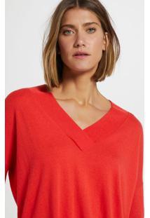 Blusa De Tricot Decote V Longo Vermelho Flame - M