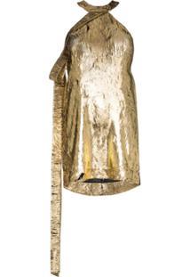 Halpern Vestido Metalizado - Dourado