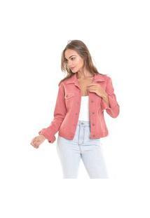 Jaqueta Jeans Lemier Collecion Com Botões Color Melancia