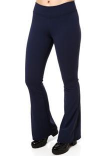 Calça De Tecido Flare Feminina Autentique Azul Marinho