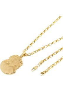 Pingente Face De Cristo Com Corrente Modelo Francesa Tudo Jóias Folheada A Ouro 18K Dourada