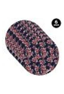 Capa Para Sousplat Mdecore Floral Azul Marinho 6Pçs
