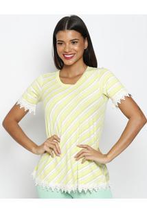 Blusa Listrada Com Renda- Verde Limã£O & Off White- Mmaclu