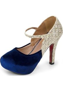 Scarpin Salto Alto Pizaflex Plataforma Com Glitter Feminina - Feminino-Azul