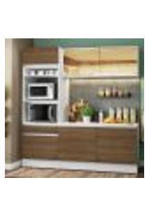 Cozinha Compacta Madesa Diamante Com Armário, Balcão E Tampo - Branco/Rustic