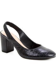 Scarpin Couro Shoestock Slingback Salto Médio - Feminino-Preto
