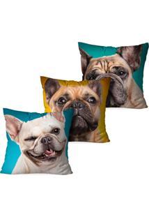 Kit 3 Capas Para Almofadas Decorativas Dogs 35X35Cm - Multicolorido - Dafiti