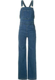 Bo.Bô Macacão Jeans Flare - Azul