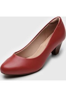 Scarpin Modare Bico Redondo Vermelho